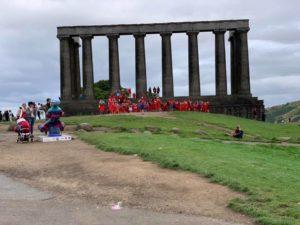 Vintage Vibes Red Dress Run Calton Hill Edinburgh