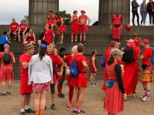 Vintage Vibes Red Dress Run Calton Hill Edinburgh image 2